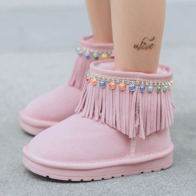 Kids Boots 2017 Winter New Children Snow Boots Kids Leather Boots Warm Fringe Shoes with Fur Princess Baby Girls Ankle Boots<br><br>Aliexpress