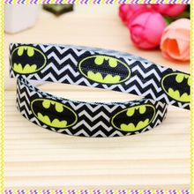 5/8'' Free shipping Fold Elastic FOE batman printed headband headwear hair band diy decoration wholesale OEM B1141