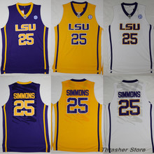 Ben Simmons #25 LSU Retro Throwback Stitched Basketball Jersey Sewn Camisa Embroidery Logos