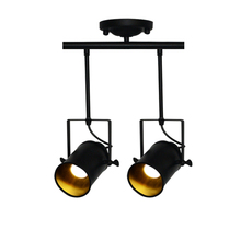 Retro Loft Vintage 3 head LED Track lamp E27 lamp holder Kung brand 1/2/3/4 light with rail Ceiling Lamp Bar Clothing spotlight