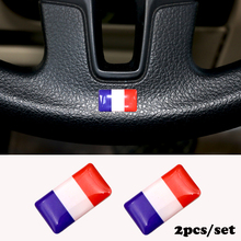 2pcs/set Steering wheel 3D Epoxy Car Styling fit for VW AUDI Skoda Seat Mazda Toyota Lexus Car Sticker France National Emblem(China)