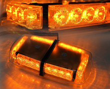 Amber/Yellow 24 LED Car Emergency Warning Rooftop Flash Strobe Light Bar