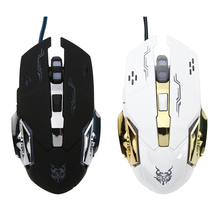 Professional Double Click 6 Buttons 1600DPI USB Optical Wired Gaming Mouse Mice For Computer Gamer PC Black/White(China)