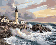 HQ lighthouse morning seascape the Paintings coloring By Numbers Hand Painted Picture Wall Art Modern Oil Painting room Decor