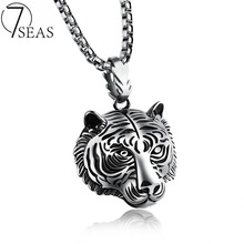 7SEAS 2017 New Arrival 316L Stainless Steel Necklace Tiger Pendant Necklace Man Cool King of Animal Jewelry Free shipping 7S1184