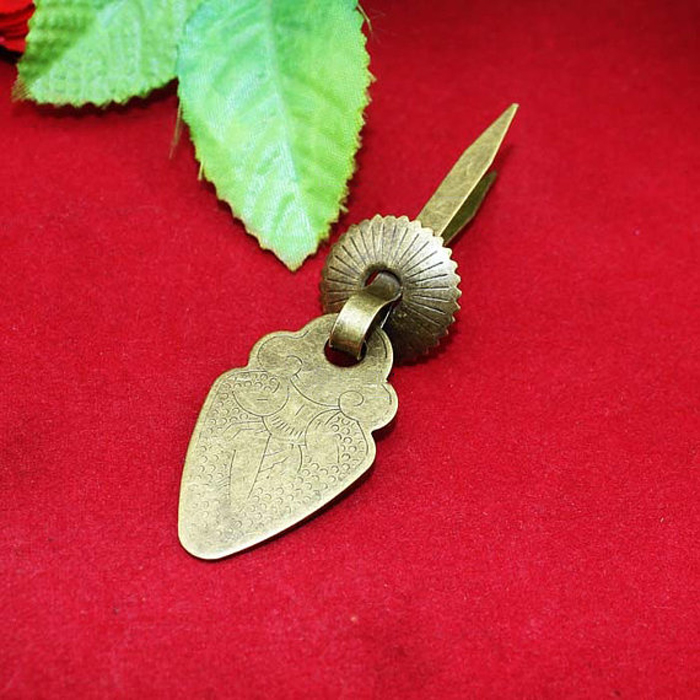 23*55MM Needle Feet Gift Jewelry Box Knob Pulls Vintage Brass Wooden Case Drop Ring Handle<br><br>Aliexpress