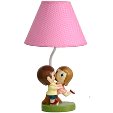 Home Decoration Modern Simple Sweet Couple Modeling Table Lamp Rose Red Linen Shade 41x22x14cm Resin Lamp Body Kid's Desk Light(China)
