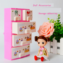 Abbyfrank Pink Closet Wardrobe Storage Cabinet Doll Furniture For Doll Girl Dollhouse Furniture Princess Bedroom Doll Accessory(China)