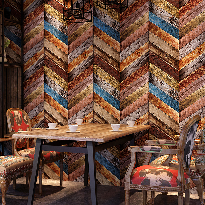 PVC Embossed Imitation Wood Textured Wallpaper Retro Nostalgic Coffee Restaurant Wall Decorative Wallpaper Roll Papel De Parede<br>
