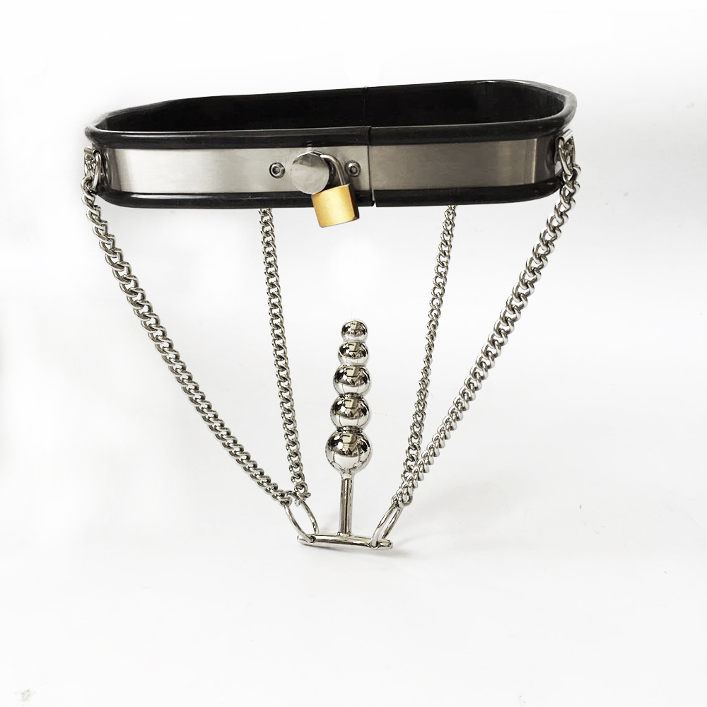 Black emperor SM female invisible chastity belt, new stainless steel, Yin Sai, sex toys, safe and comfortable, adjust.