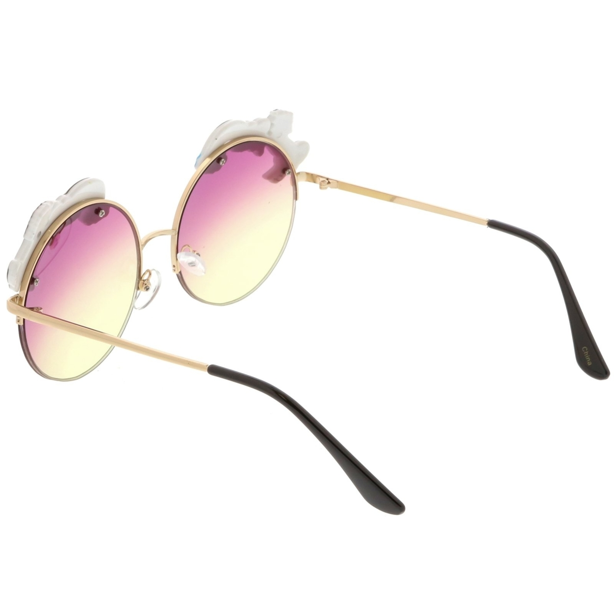 Unicorn Rainbow Semi Rimless Round Sunglasses With Gradient Colored Lens 56mm (4)
