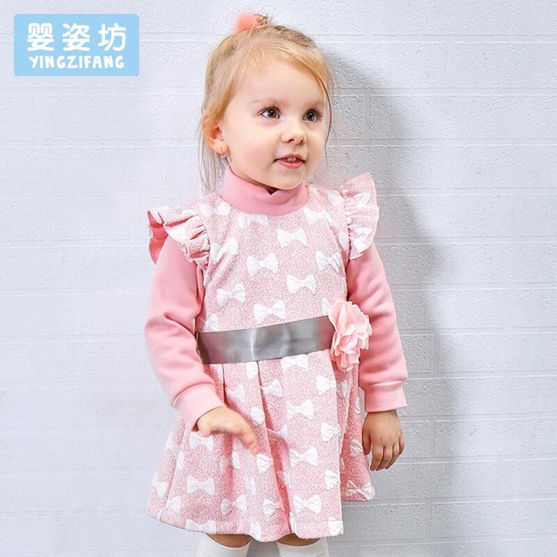 2018 Winter Toddler Girls T-Shirt Casual Long Sleeves O-Neck Cotton Dress Tees Shirt Children Girls Skirt Sweatshirt<br>