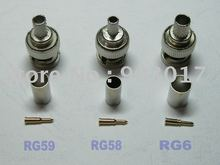 3-piece BNC Male Crimp Connector RG58 or RG59 or RG6 100 Pcs Per Lot HOT Sale(China)