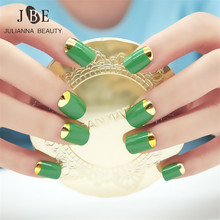 New 24Pcs Lady Artificial False Nails Tips Gold Metal Color Edge Opposite French Fake Short Mirror Nail Silver Beauty Nail Art