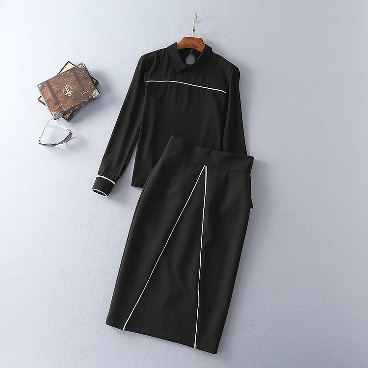 Two Pieces Set New Skirt Suits 17 Autumn Winter Women Turn-down Collar Black Blouses+Mid-Calf Length Pencil Skirts Clothing 2