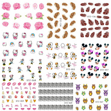 1sheets Hot  31 Designs Nail Art Water Transfer Sticker Beauty Nail Art of Feather Flower Cartoon Decals Nail Decoration TRNC131