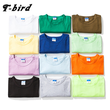 T-bird New Solid Color Fashion T Shirt Mens Cotton T-shirts Summer Skateboard Tee Boy Hip Hop Skate Tshirt Tops 12 Color S-XXXL