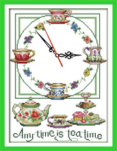 Innovation items needlework kit DIY home decoration counted cross stitch kit clock embroidery set - Anytime is tea time