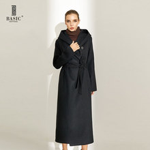 Basic Editions Spring Autumn Women Singel Button Long Wool Coat With Long Sleeves and Belt - CH045