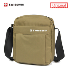 Swisswin Casual Men's Daily Shoulder Bag Small Messenger Bag for Ipad, purse and phones Brown Black Crossbody Bag Women(China)