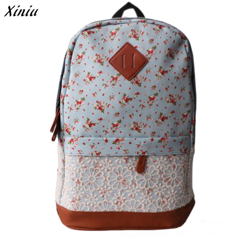 Xiniu Canvas Backpack School Bag Super Cute Stripe Floral School College Laptop Bag for Teens Girls Students #2415<br><br>Aliexpress