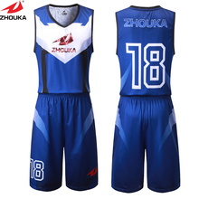 ZhouKa Personal basketball uniform customizing,sublimation printing custom your  own design basketball set