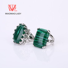 5PCS Wholesale Romantic Natural Stone Men Biker Rings Malachite Turkish Jewelry Couple Rings Trendy Maxi Women Anniversary Rings