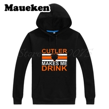 Men Hoodies Chicago Jay Cutler #6 Cutler Makes Me Drink Sweatshirts Hooded Thick for Bears fans gift Autumn Winter W17101613(China)