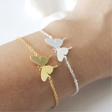 Cute Children Beautiful Butterfly Charm Bracelet For Girls Kids Hand Chain Gold Silver Color Best Friend Women's Beach Bracelets(China)