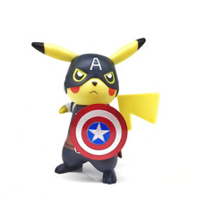 NEW hot 15cm Pikachu cos Captain America avengers Action figure toys doll collection Christmas gift with box