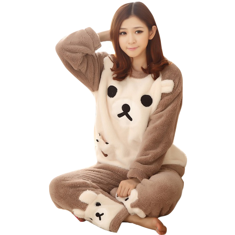 2019 Animal Sleepwear Cat female pajama Women Pajama Sets Autumn winter Flannel Cartoon Warm Pyjamas Women Homewear