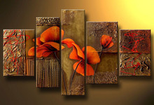 Composition Of Three red Poppies flowers Hand-painted Modern Canvas Wall Art Decor Floral Oil Paintings for Home Decor 5pcs/set