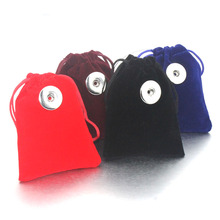 5Pcs 7*9cm Snap Button Jewelry Black Velvet Bag Drawstring Pouch Necklace Bracelet Beads Bags Jewelry Packaging Gift Bag 8741