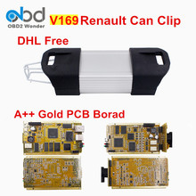 DHL Free Shipping Gold PCB For Renault Can Clip V169 Car Scanner Tool Multi-language For Can Clip Tester For Renault Cars