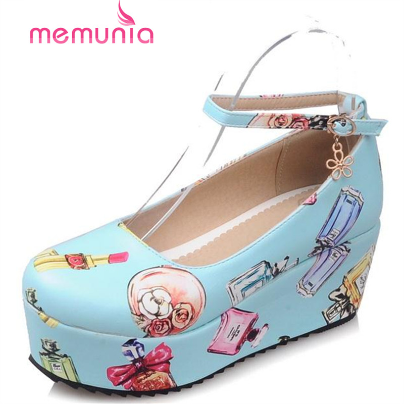 MEMUNIA Wedges shoes women sweet fashion buckle platform shoes summer printing shoes single girl round toe shallow <br><br>Aliexpress
