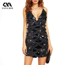 Buy CAYA BOX v neck pretty little thing sequin dress backless mini women dress bodycon render dresses women clothings for $21.08 in AliExpress store