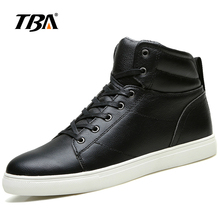 2017 TBA winter men's hard -wearing cotton shoes lace-up high Upper flat shoes water-proof warm leather SKateboaring shoes T5986(China)
