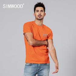 SIMWOOD 2019 летняя новая футболка мужская повседневная футболка с буквенным принтом высокого качества плюс размер топы с круглым вырезом бренд...