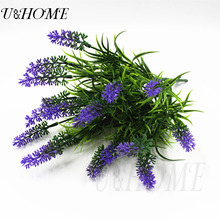 6 brunch artificial plastic lavender cheap purple flower high quality for home arrangement wedding accessory garden table decor