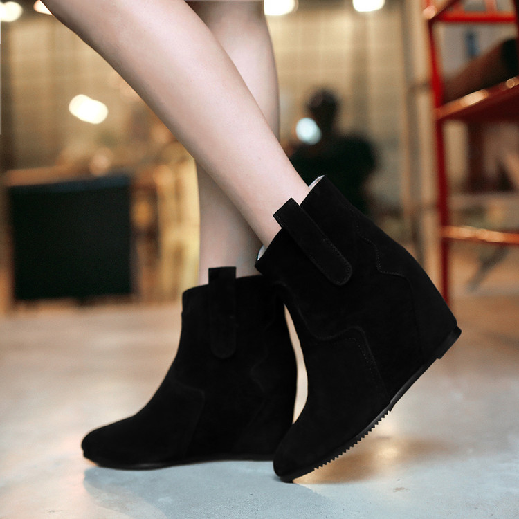 2016 Real New Botas Mujer Fall Winter Boots Elegant Sexy Medium Heels Wedge Women Fashion Increased Ankle For Outdoor Shoes 306<br><br>Aliexpress