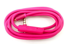 Pink Replacement Audio Cable Cord Wire with In-line Microphone For Beats Solo/HD/Studio/Pro/Detox/Wireless/Mixr/Pill Headphones(China)