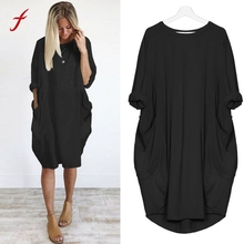 Buy Feitong Womens Fashion Pocket Loose Dress Ladies Crew Neck Casual Long Tops Dress OverSize Vestidos Mujer Casuales Midi Verano for $9.13 in AliExpress store
