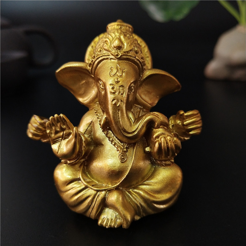 Buddha Statue Sculptures Figurines Man-Made-Stone Lord Ganesha Elephant God Gold Home Garden title=