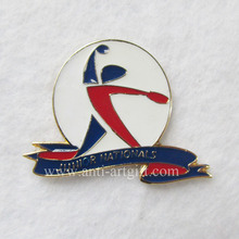 Custom hard enamel brooch pins for sport club design your logo gold plated badges high quality products 1""