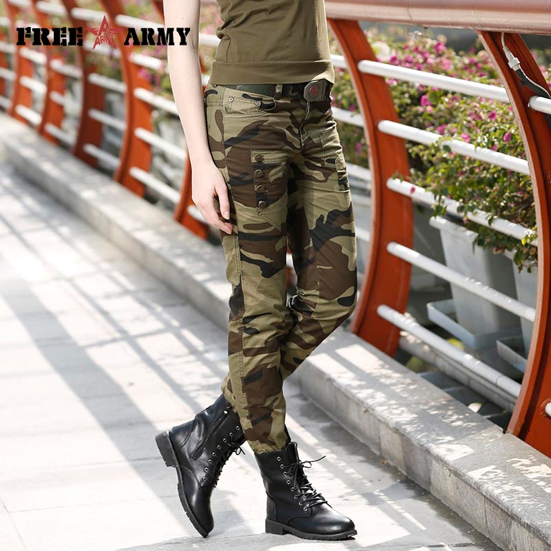 Fashion Women Camouflage Slim Cotton Pants Female Army Cargo Pencil Pants Mid-Waist Spring Ladies Skinny Trousers For Women