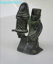 Collectible Decorated Chinese Old Bronze Carved Palace Maid Candle Stick/Candle Statue