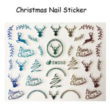 FOREVERJASMINE 24pcs Rainbow Christmas Reindeer Nail Art Sticker Xmas Ornament Nail Decal Fluorescent Manicure Decorations SW08