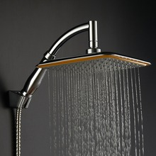 "RU warehouse !2017 new Chrome Finished Wall Mounted Brass Shower Arm + Ultrathin Square 9"" Shower Head + 2 Conversion of rod"