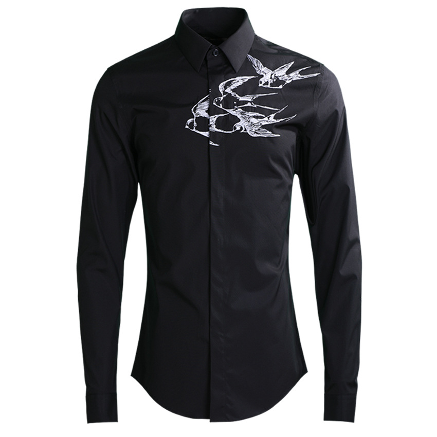 new arrival Embroidery Fashion Men Casual Shirts Hand-painted cotton long sleeve high quality plus size M L XL 2XL 3XL 4XL