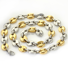 Huge Gold Silver Hot selling Men's Jewelry Stainless Steel coffee beans design Link Chain Necklaces 9mm 21.6''(China)